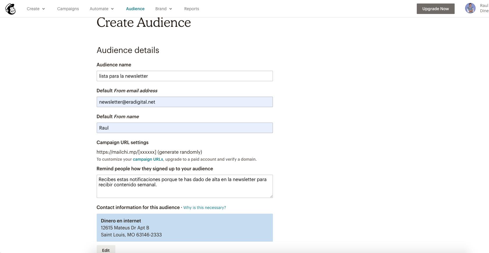 imagen de como crear una audiencia en mailchimp