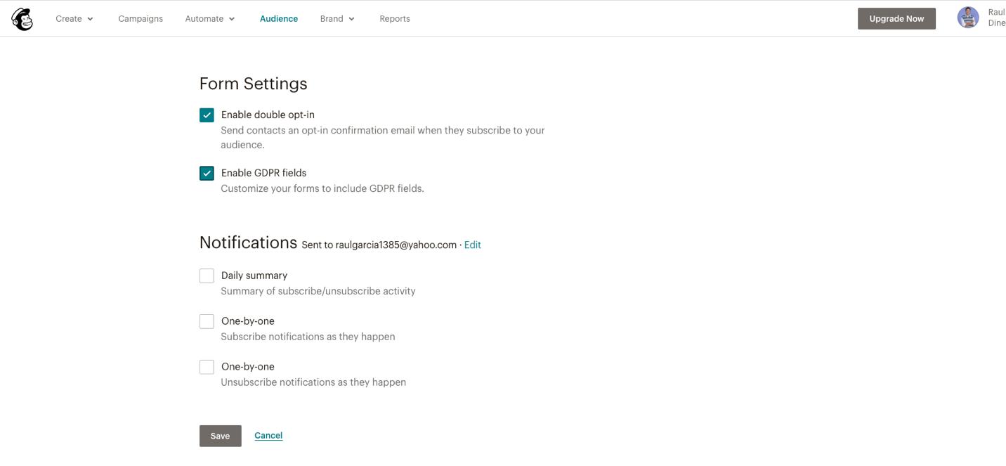 imagen de la configuración de los ajustes de la audiencia de mailchimp