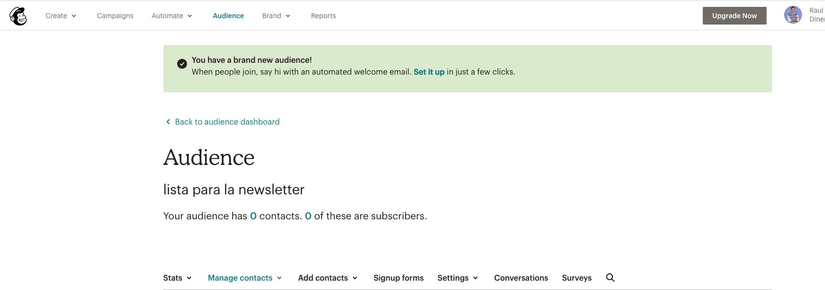 imagen de la configuración finalizada de mailchimp