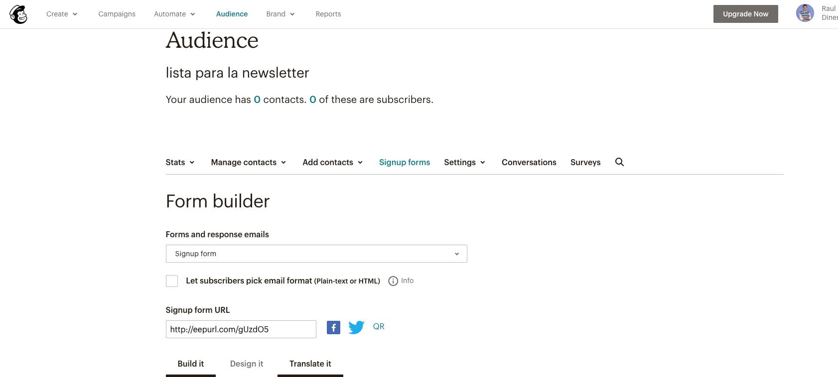 imagen de un form builder de mailchimp