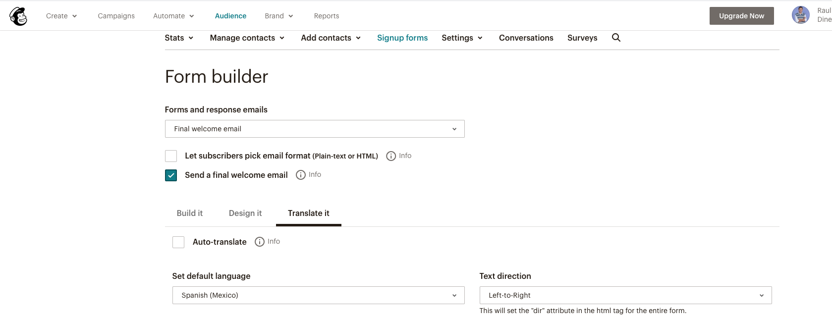 imagen de los ajustes del form builder form mailchimp