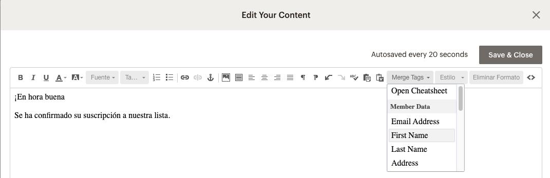 imagen de edit your content de mailchimp