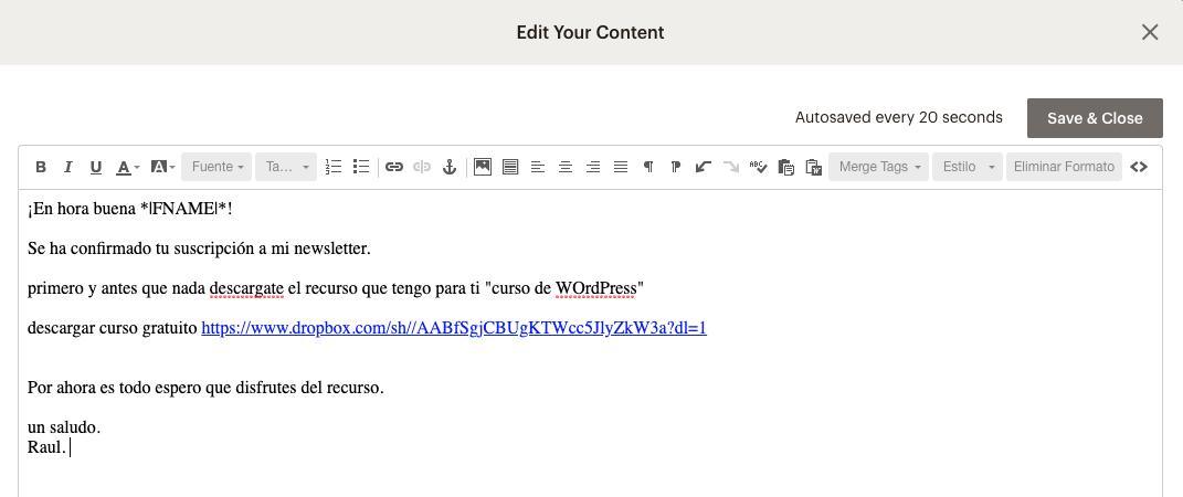 imagen del edit your content de mailchimp