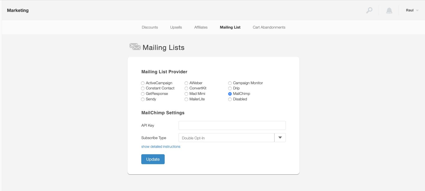 imagen de sendowl agregando la lista de correo