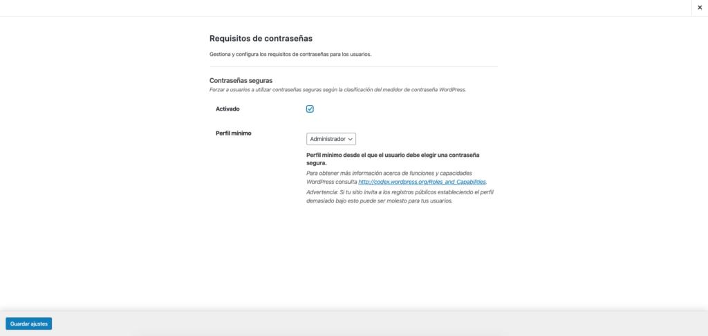 imagen de ithemes security - requisitos de contraseña.