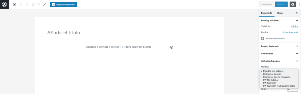 imagen de nueva página en wordpress.
