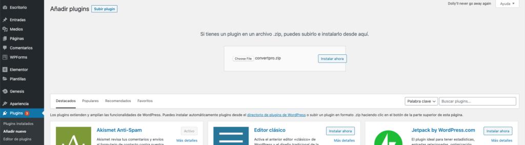 imagen del escritorio de wordpress/plugins