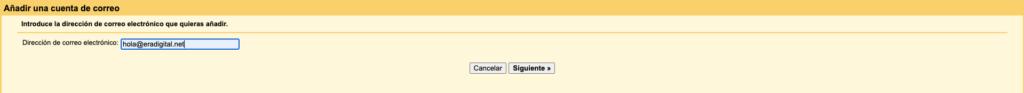 Imagen de las configuraciones del correo personalizado en Gmail