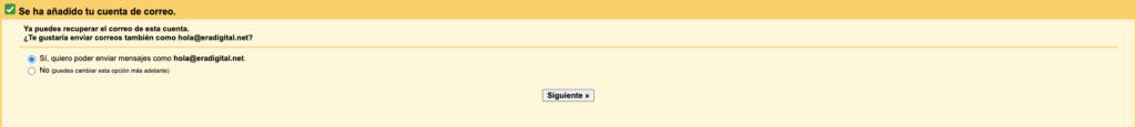 Imagen de la configuración de la cuenta personalizada en Gmail