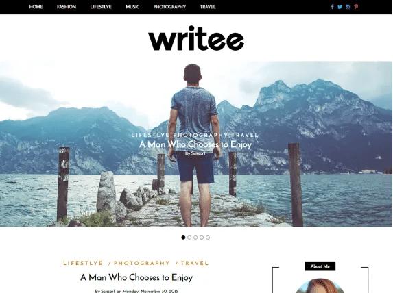 Writee imagen de plantilla de wordpress