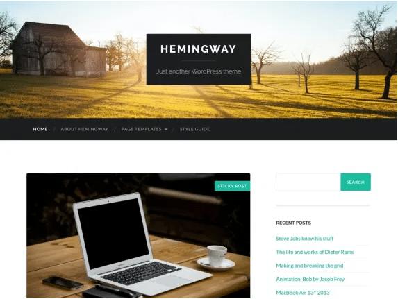 Hemingway imagen de plantilla de WordPress