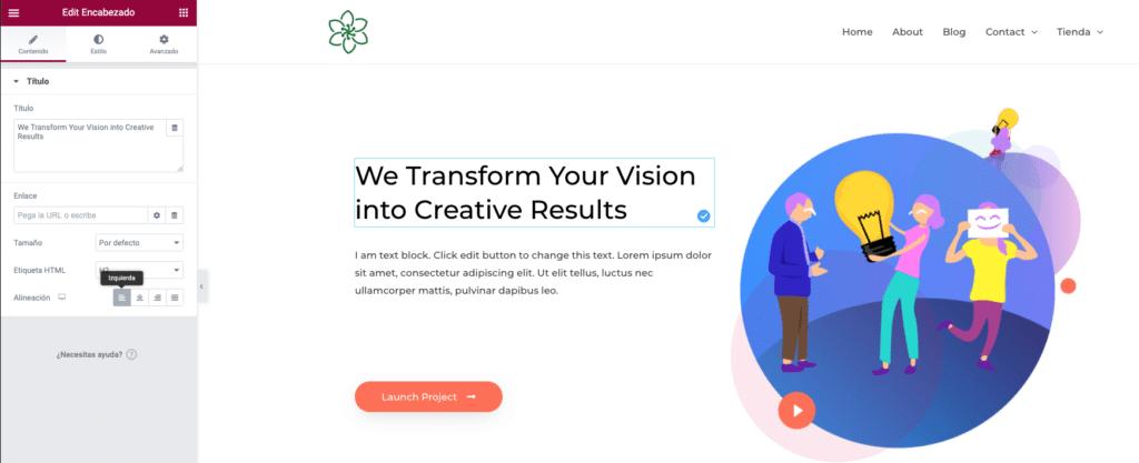 Imagen como crear una página con Elementor